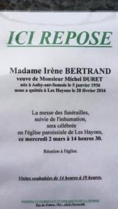 Décès de Madame Irène Bertrand